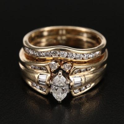 14K 1.19 CTW Diamond Layered Ring