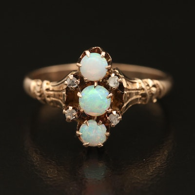 Victorian 10K Opal and Diamond Ring