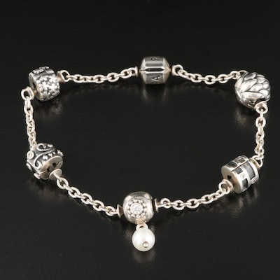 Pandora Sterling Silver Pearl and Cubic Zirconia Station Bracelet