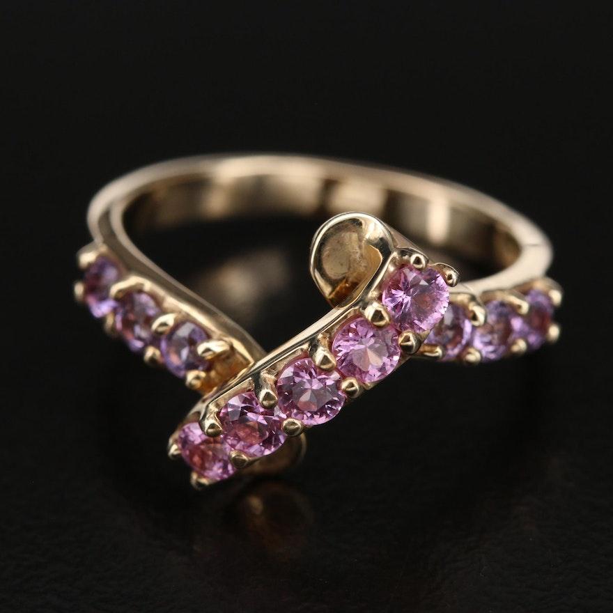 10K Sapphire Ribbon Ring