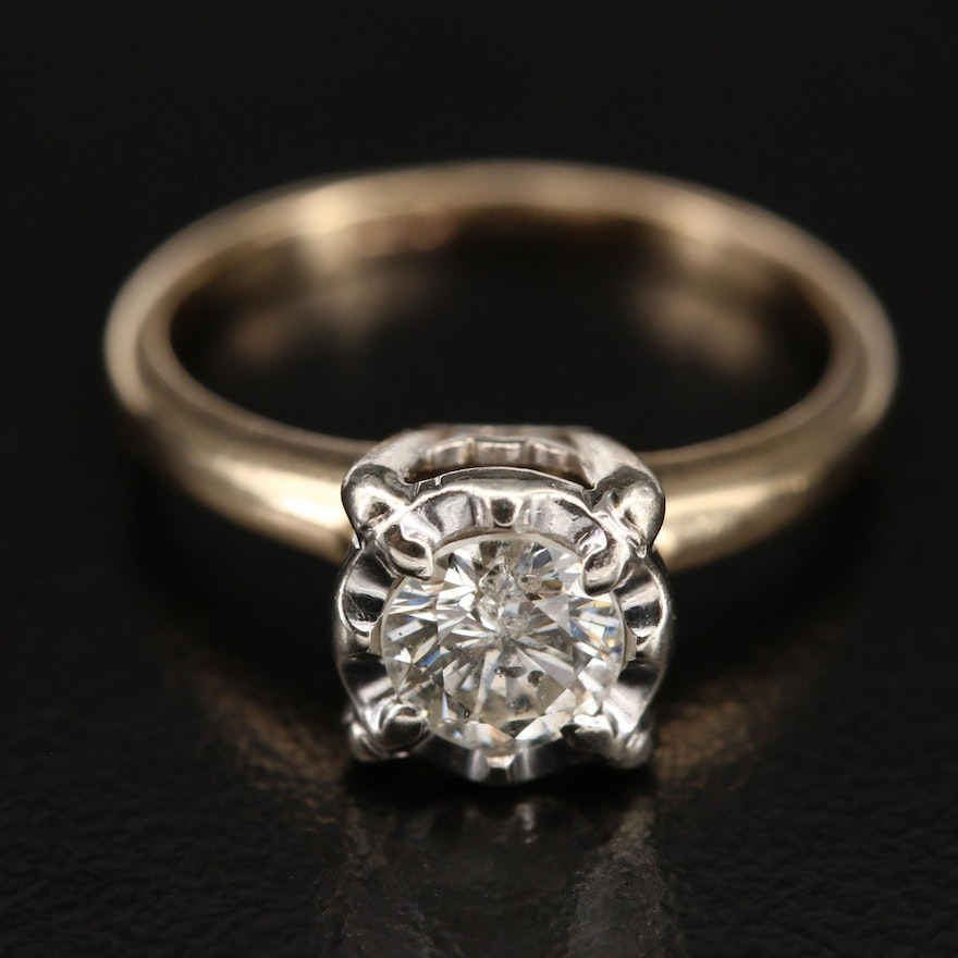 14K Two-Tone 0.56 CT Diamond Invisible Set Solitaire Ring