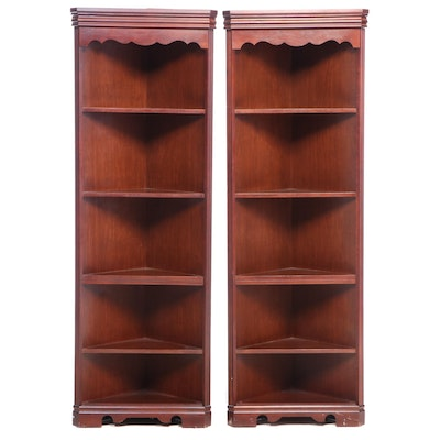 Pair of Mahogany Finished Corner Bookcases