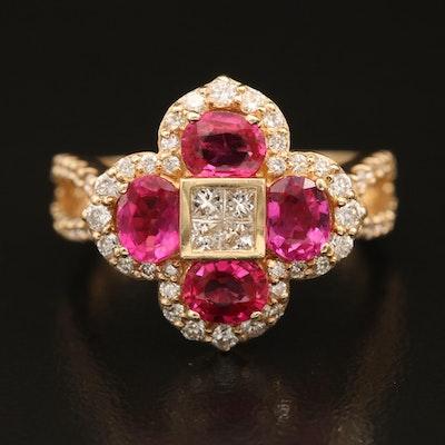 EFFY 14K Ruby and Diamond Quartefoil Ring