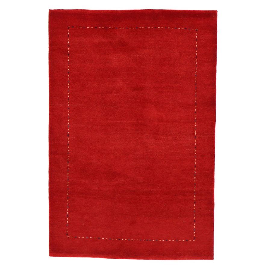 4'1 x 6'1 Hand-Knotted Indo-Persian Gabbeh Rug, 2010s