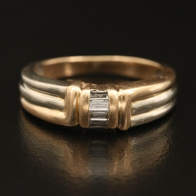 14K Two Tone 0.15 CTW Diamond Fluted Ring