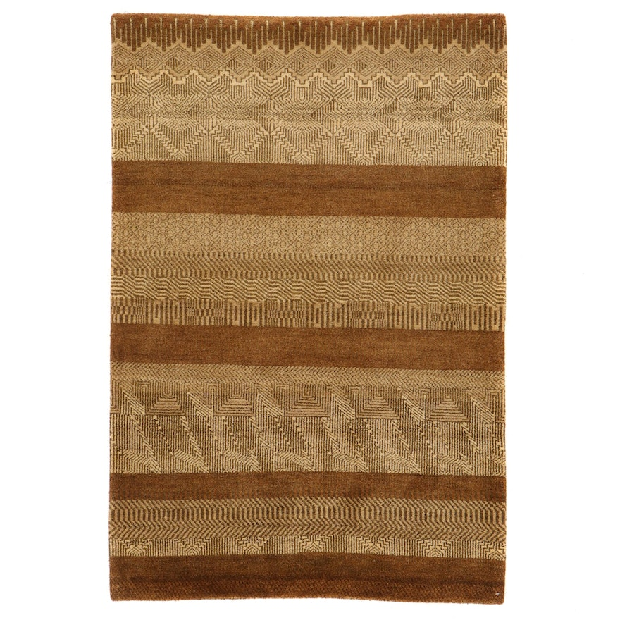 4'2 x 6'3 Hand-Knotted Indo Persian Gabbeh Rug, 2010s