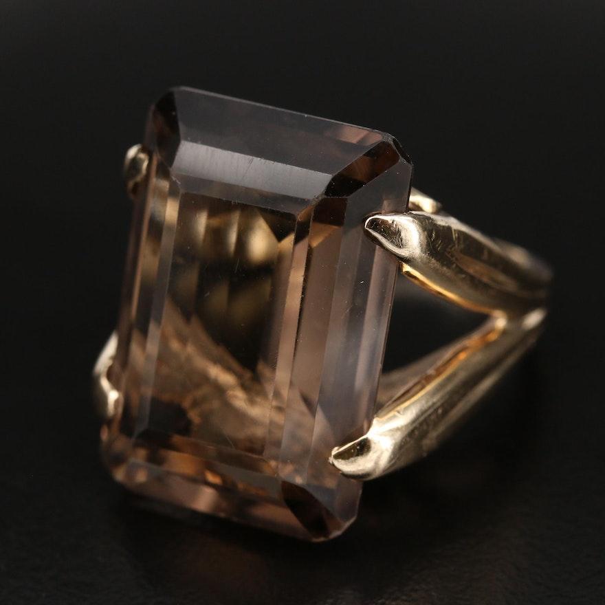Vintage 14K 28.49 CT Smoky Quartz Statement Ring