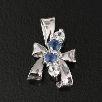 Sterling Sapphire and Zircon Bow Pendant