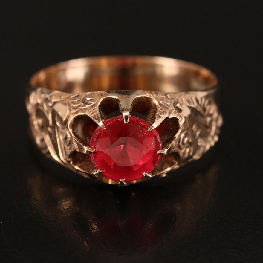 Victorian 10K Belcher Set Glass Garnet Doublet Ring