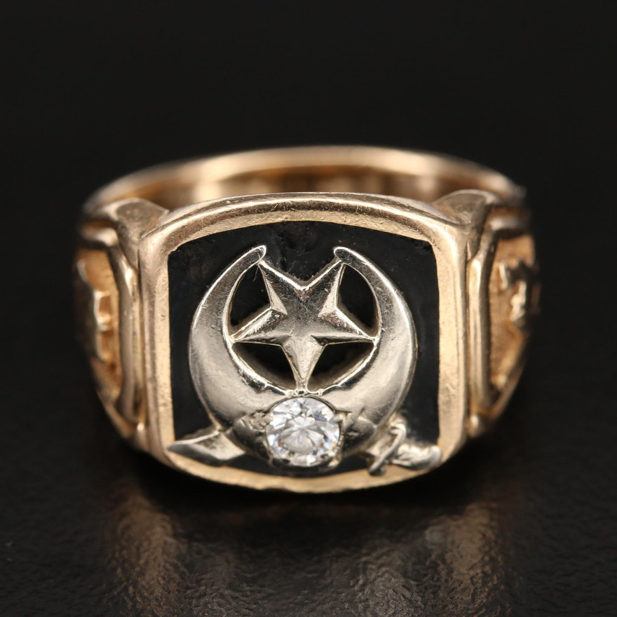 Vintage 14K 0.14 CT Diamond Shriner Ring