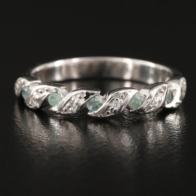 Sterling Alexandrite and Zircon Stackable Band