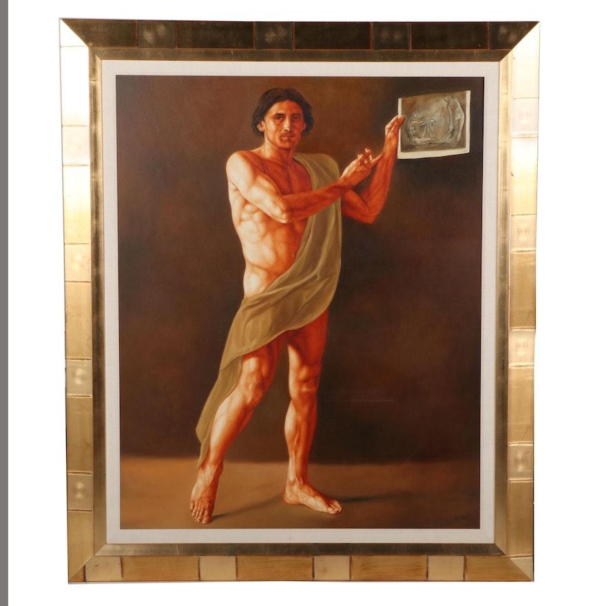 Eivar Moya Large-Scale Portrait Oil Painting of Male Figure, 2000
