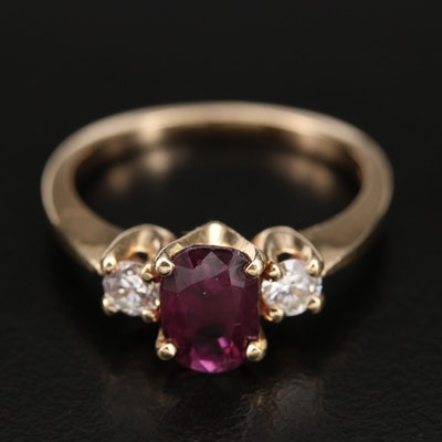 14K 1.42 CT Sapphire and 0.28 CTW Diamond Three Stone Ring