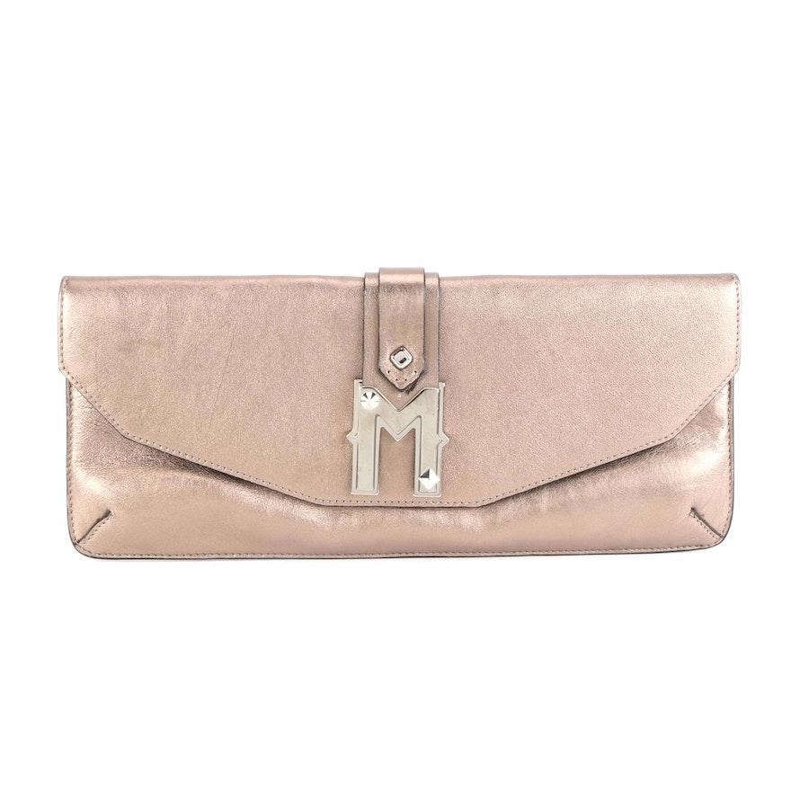 MCM Clutch Purse in Bronze Metallic Leather