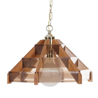 Oak and Smoky Glass Hanging Pendant Light