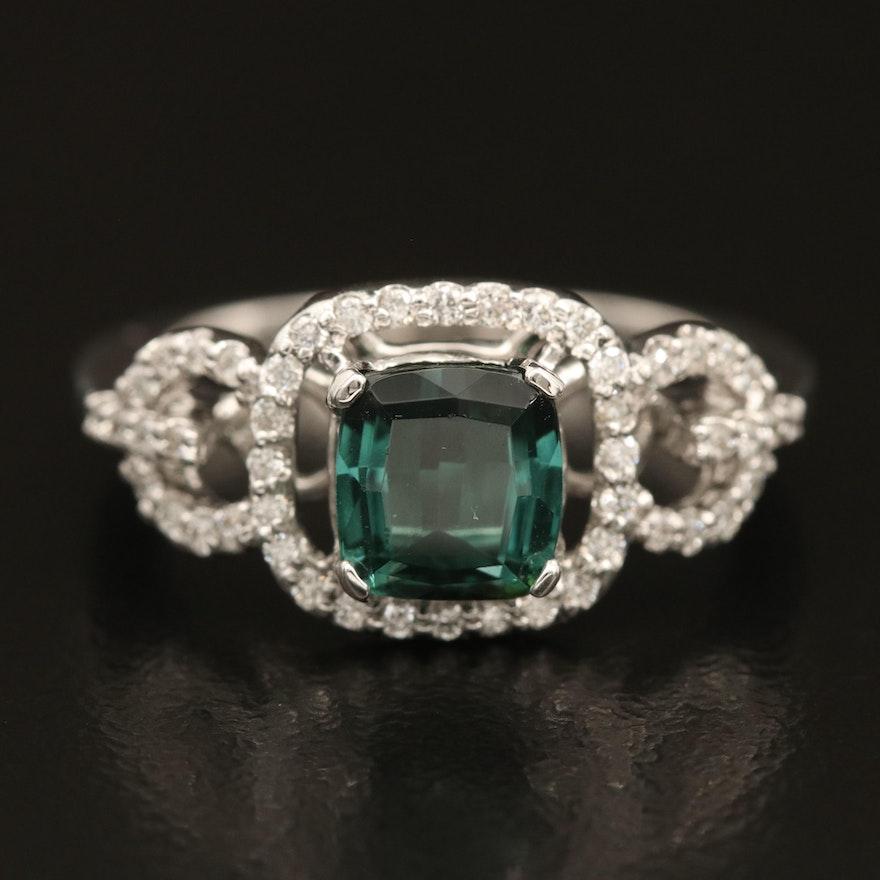 14K Tourmaline and 0.32 CTW Diamond Halo Ring