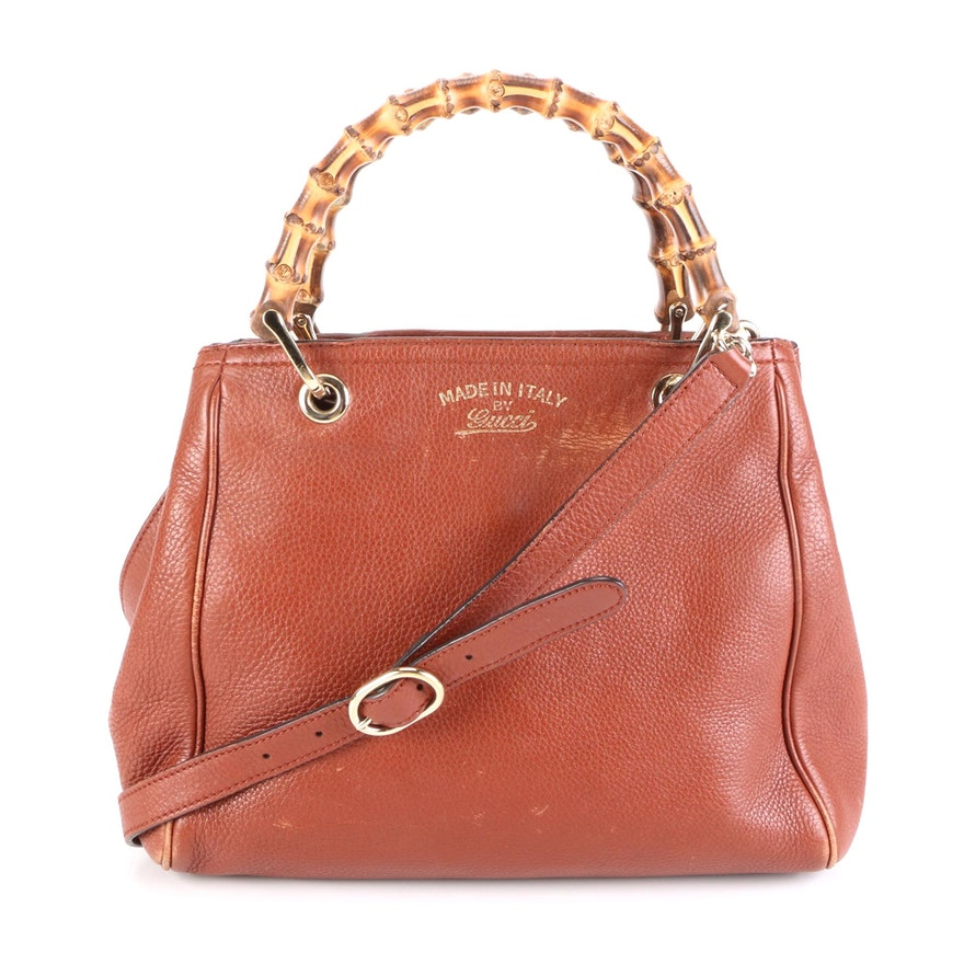Gucci Bamboo Grained Leather Two-Way Bag