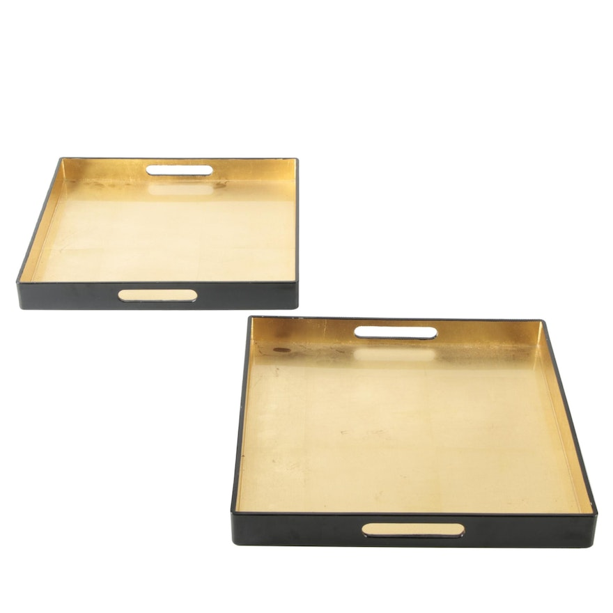 Caspari Chinese Lacquerware and Gold Leaf Handled Trays
