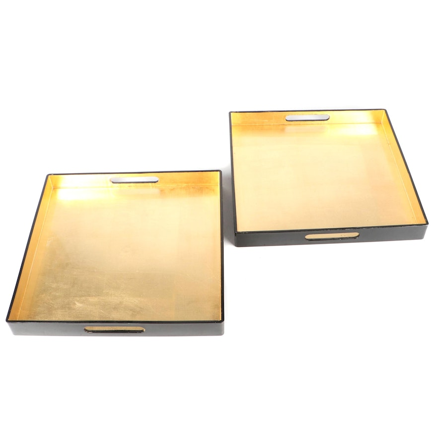 Caspari Chinese Lacquerware and Gold Leaf Handled Square Trays