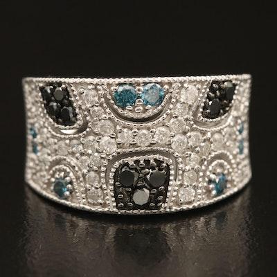 10K 1.00 CTW Diamond Openwork Ring with Milgrain Detail