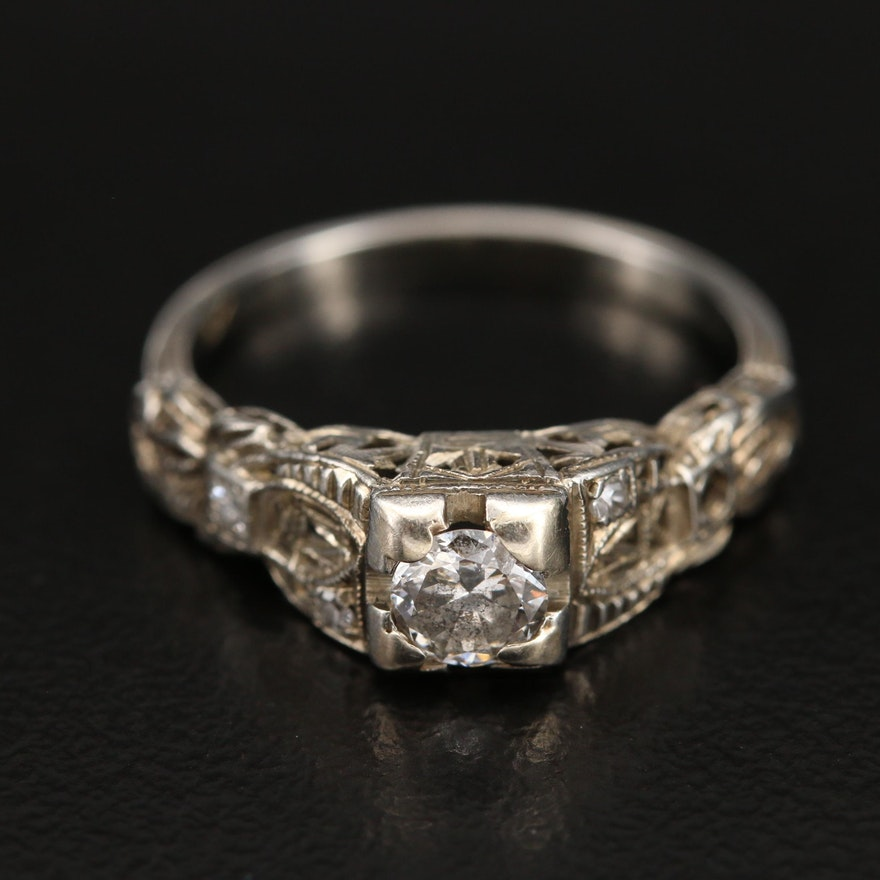 Antique 18K Diamond Openwork Ring