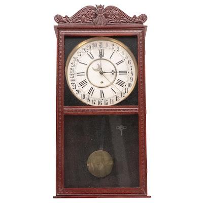 Wm. L. Gilbert Clock Co. Mahogany Wood Wall Clock, Late 19th/Early 20th C.