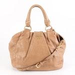 Prada Handbag in Dark Camel Cervo Lux with Detachable Shoulder Strap