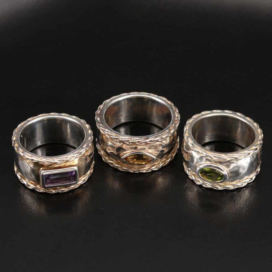 Sterling Hammered Rings with Amethyst, Peridot and Citrine