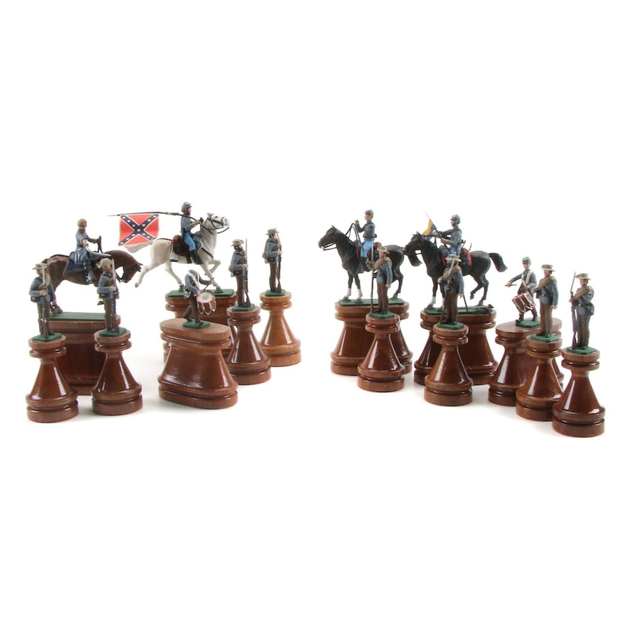 American Civil War Themed Painted Cast Metal Figurines on Wooden Stands