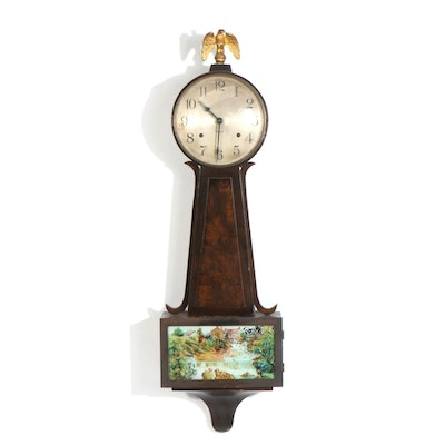 Wooden Wall Clock with Nature Scene Motif