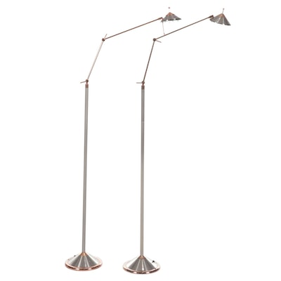 Lite Source Contemporary Copper and Brushed Nickel Silver Floor Lamps