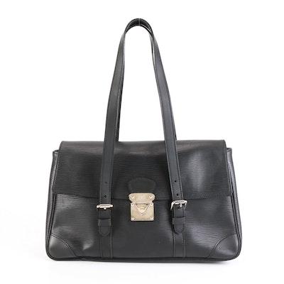 Louis Vuitton Segur MM Shoulder Bag in Black Epi and Smooth Leather