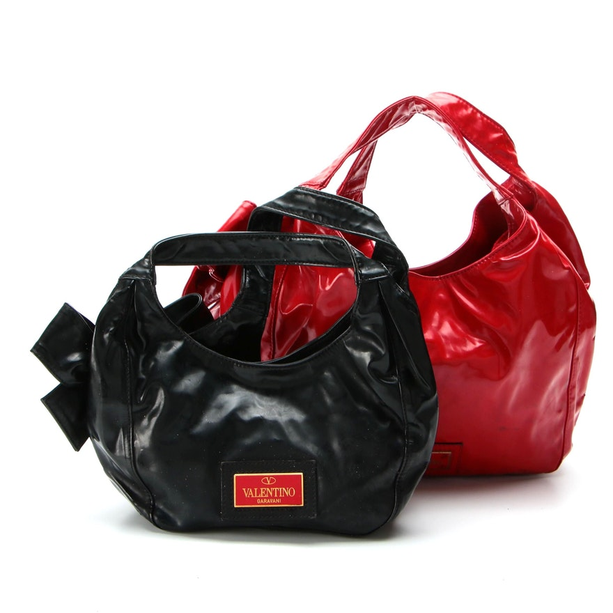 Valentino Nuage Bow Large and Small Totes Bags in Black and Red Patent Leather
