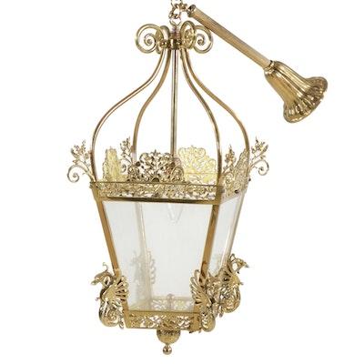 Brass Lantern Style Pendant Light