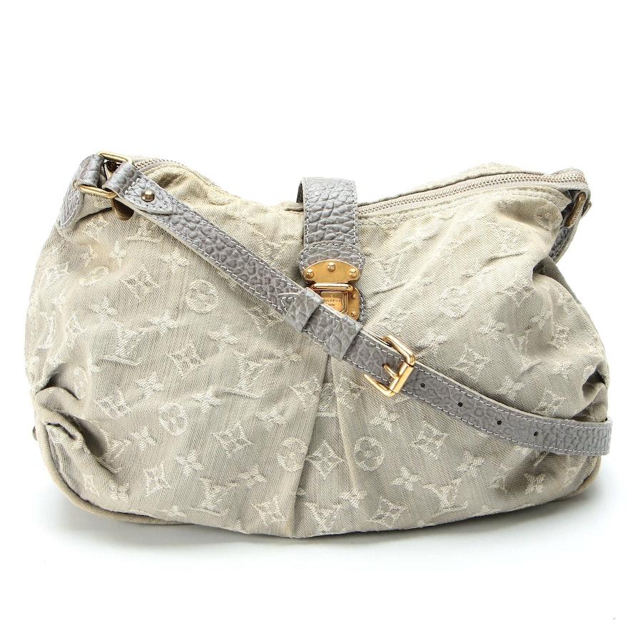 Louis Vuitton Grey Monogram Denim XS Bag with Embossed Leather Trim
