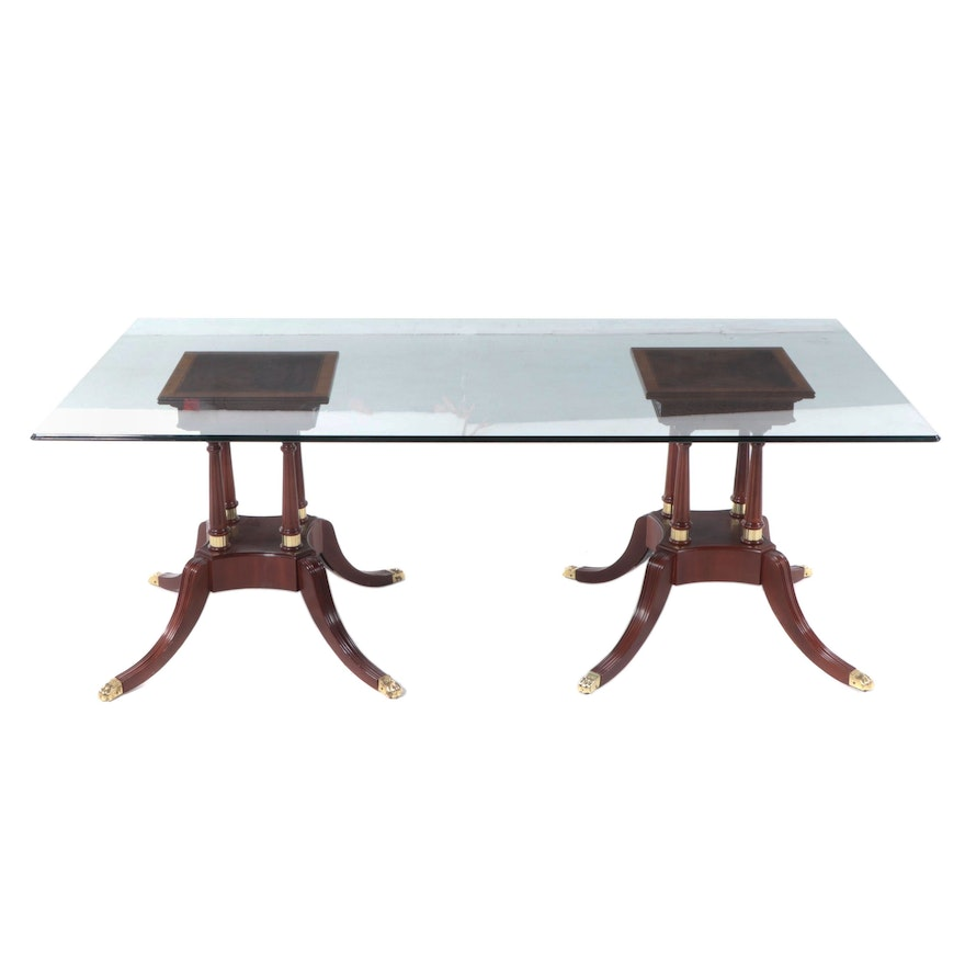 George III Style Mahogany Pedestals with Glass Top Dining Table