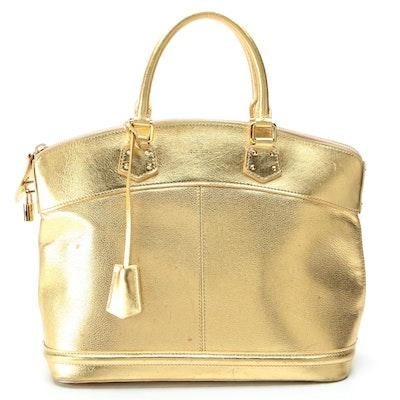 Louis Vuitton Suhali Lockit MM Bag in Gold Metallic Leather