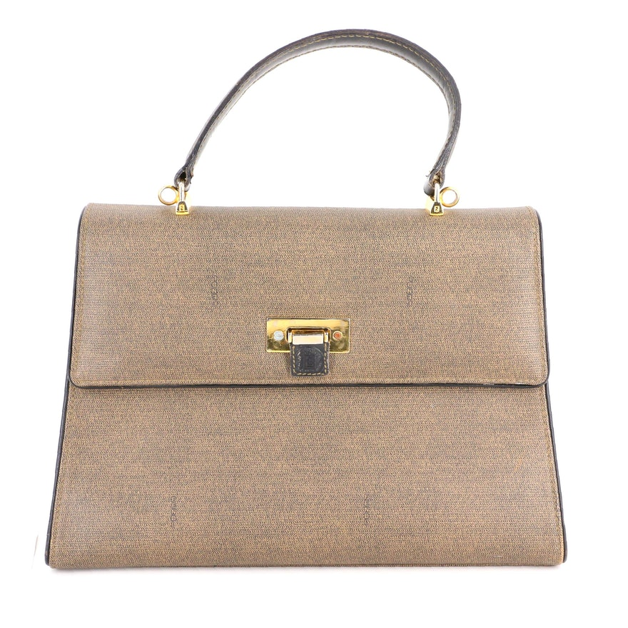 Fendi Top Handle Bag in Logo Coated Canvas with Leather Trim
