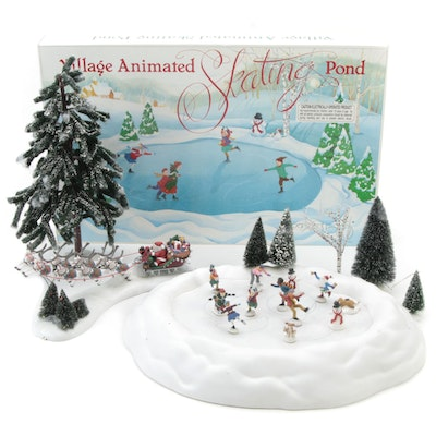 """Department 56 Snow Village """"Village Animated Skating Pond"""" Table Dècor and More"""