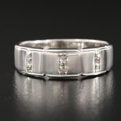 Sterling Diamond Triple Row Ring