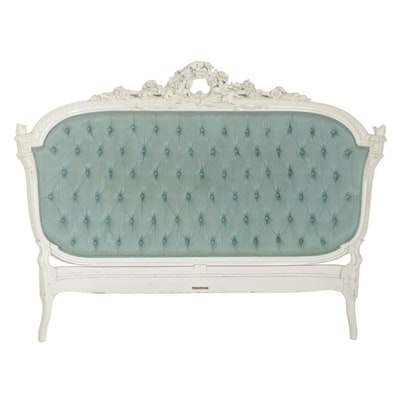 Louis XV Style White-Painted Carved Wood and Upholstered Full Size Headboard