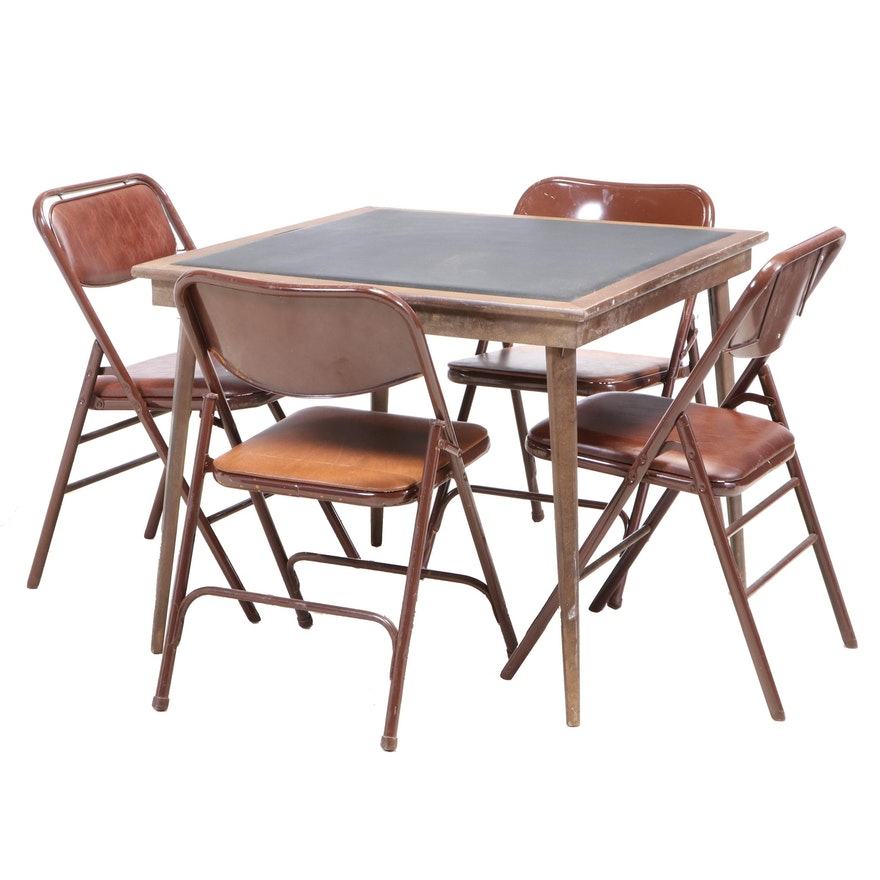 Samsonite Folding Chairs with Folding Games Table, Mid-20th Century