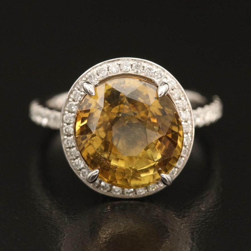 Platinum 7.02 CT Alexandrite and Pavé 1.06 CTW Diamond Ring with GIA Report