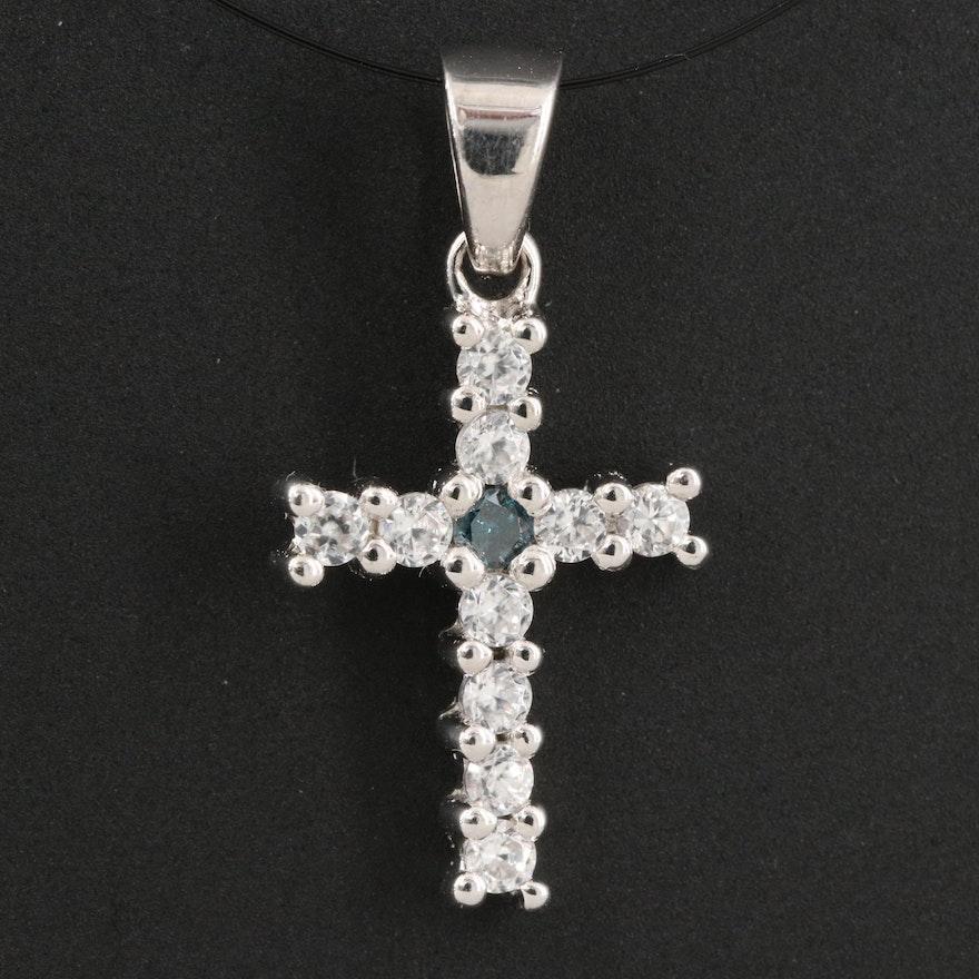 Sterling Silver Diamond and Zircon Cross pendant