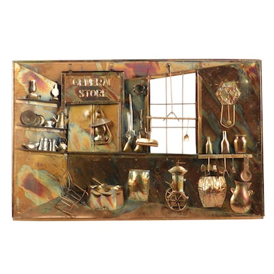 Copper General Store Diorama Music Box Wall Hanging