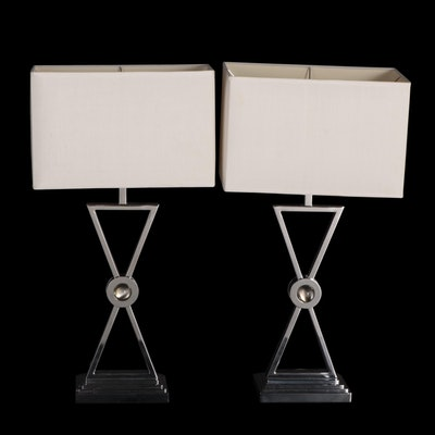Pair of Chrome Accent Table Lamps with Box Shades
