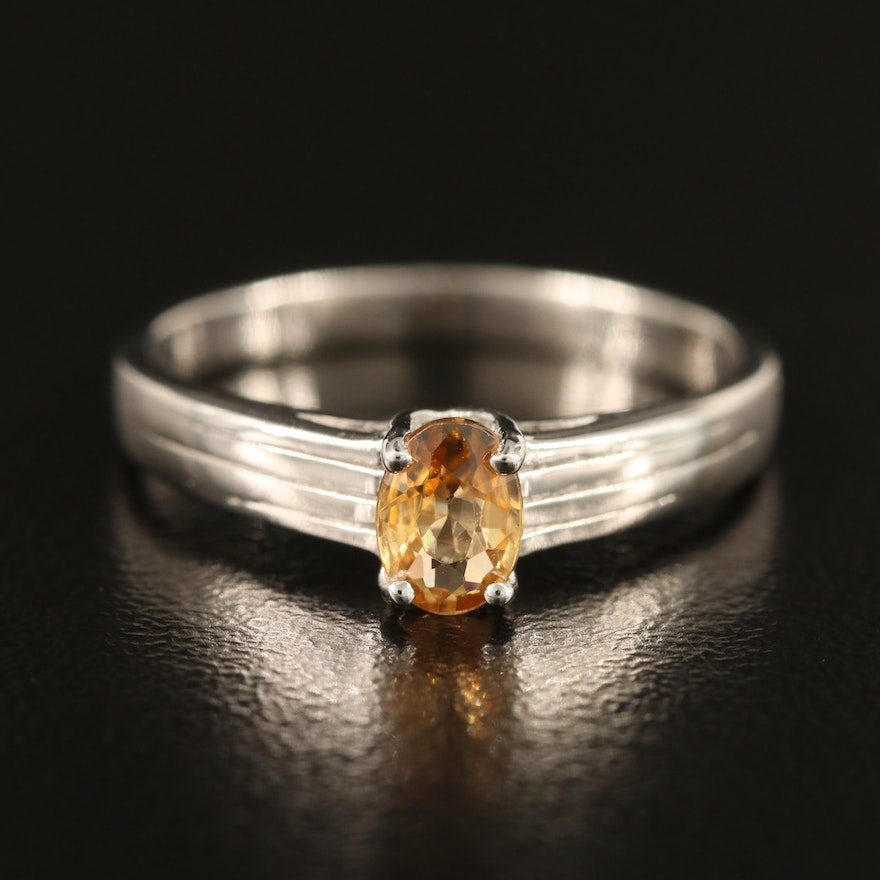 Sterling Zircon Ring with Ridged Shoulders