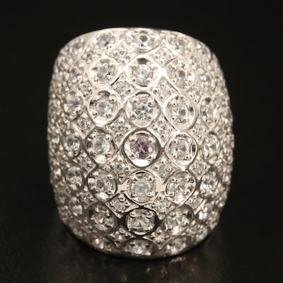 Sterling Topaz and Zircon Dome Ring