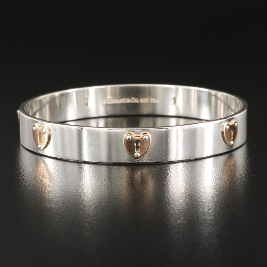 Tiffany & Co. Sterling Silver and 18K Rose Gold Heart Locks Bangle