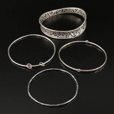 Sterling Silver Bangles Including Michael Dawkins and Silpada